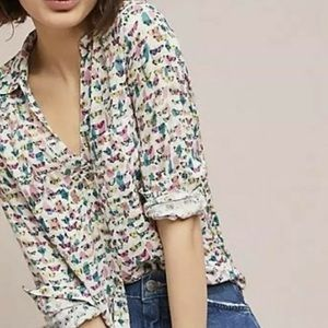 Maeve by Anthropologie Rochelle Butterfly Shirt.